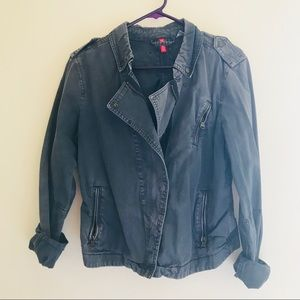 Detailed blue army jacket